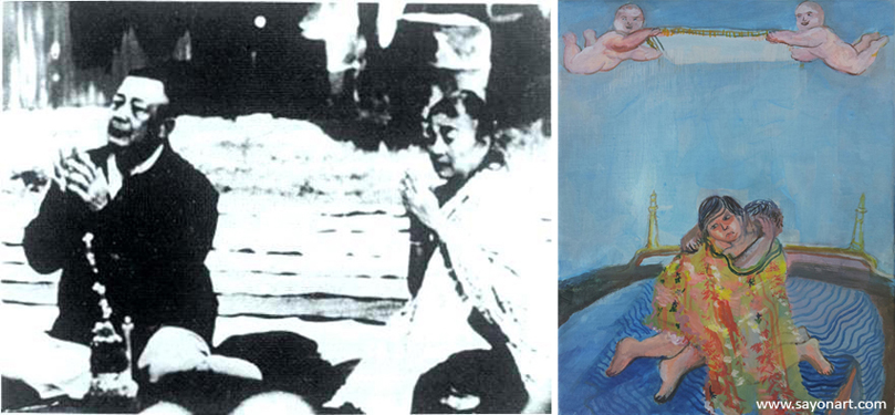 Sayon_Syprasoeuth: Lao king and queen before and after